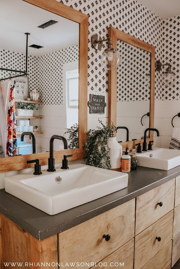 Black and white wallpaper, shiplap, wooden vanity, floral