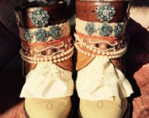 Cowboy boots size 9, Ready to ship!  Boho, Wester girl boots!  Wedding boots, short boots, One of a kind boots