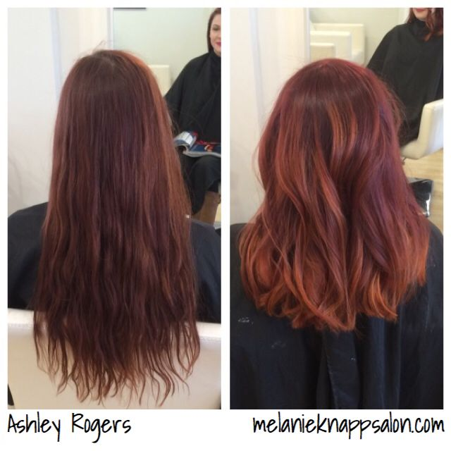 Red and copper balayage ombre with blunt lob haircut