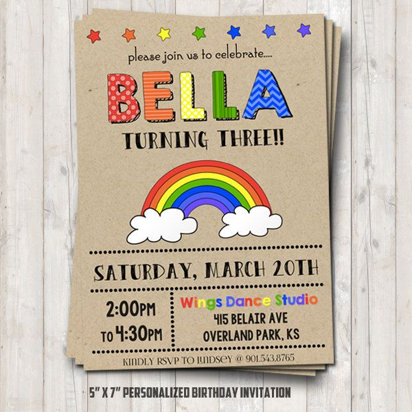 106 best Party images – Rainbow Birthday Invitation
