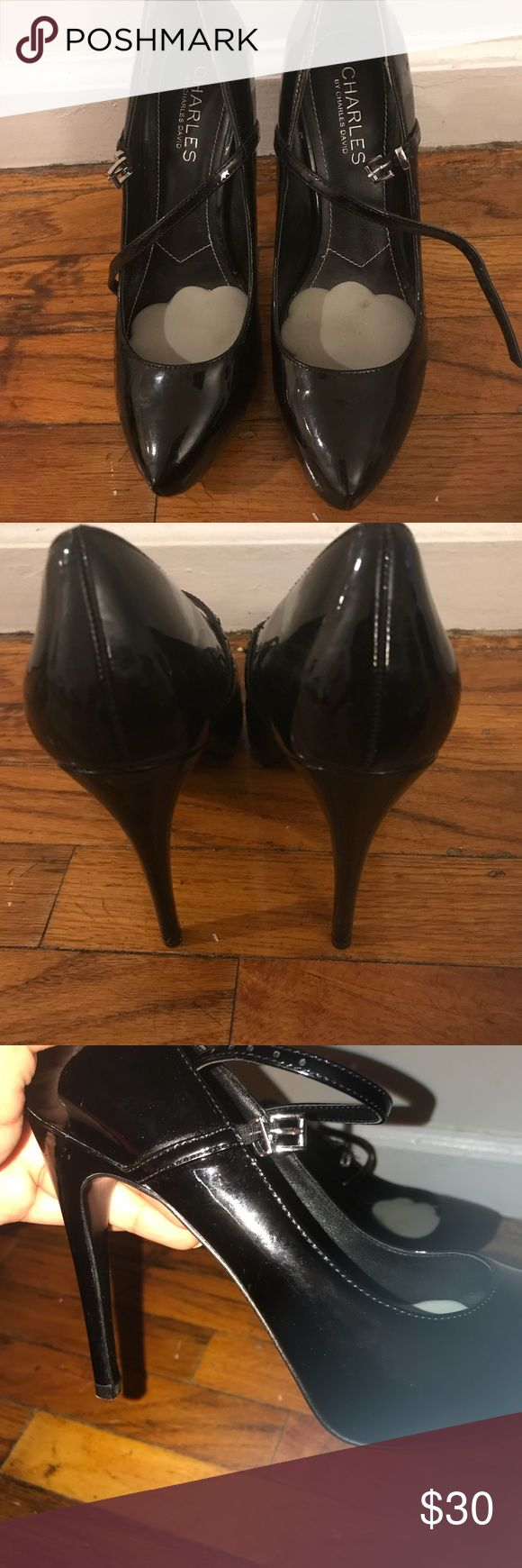 Charles David heels Black patent leather black high heels. In very good condition. Worn once or twice. Comes with shoe pads in them. Charles David Shoes Heels