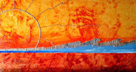 Dipinto paesaggio moderno . Tela strutturata e di Cipeciop su Etsy