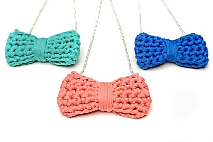 Maccheron Crochet Bow Necklaces - Designed and handmade with ♥ ...in Budapest ...by me :-) Like my page on FB: www.facebook.com/Maccheron