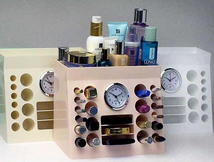 Fanciful Tidy Organizer For Your Beauty Products: Functional Handy Makeup  Organizer With Clock Holder Offering You With Space Saving Item To.