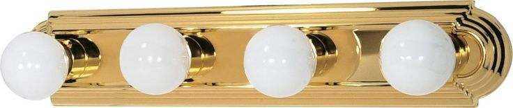4-Lights Vanity Light Bar Racetrack Style in Polished Brass Finish