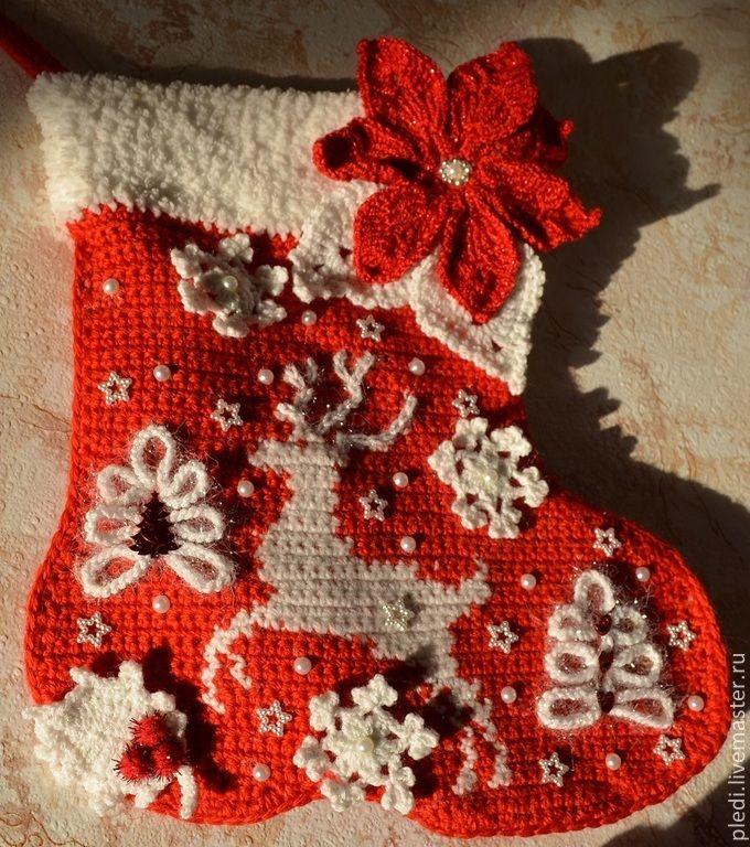 """Купить Новогодний сапожок """"Белое рождество"""" - ярко-красный, рождество, рождественский декор, рождественская звезда"""
