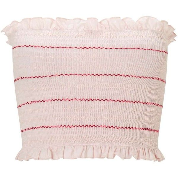 Miss Selfridge Nude Striped Shirred Bandeau Crop Top ($23) ❤ liked on Polyvore featuring tops, nude, shirred top, pink crop top, ruched bandeau top, pink bandeau top and cropped tops