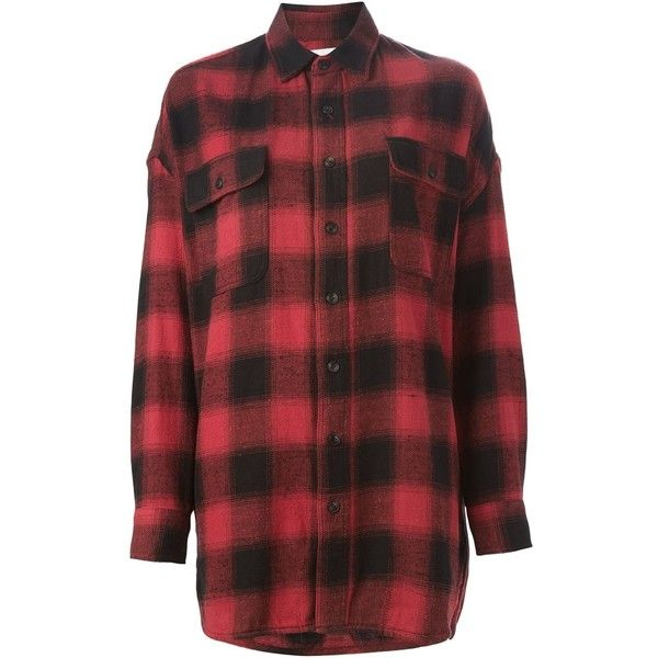 R13 Oversized Plaid Shirt (3 585 SEK) ❤ liked on Polyvore featuring tops, gift guide /, kirna zabete, the chic rocker, plaid shirts, torn shirt, red tartan shirt, destroyed shirt and distressed top