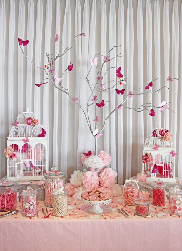 Not pink but love the idea with the branches / tree and birds