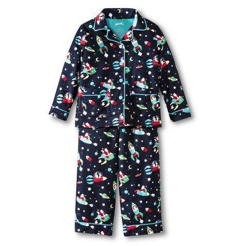 Nick Amp Nora Toddler Boys 2 Piece Flannel Santa Pajama Set