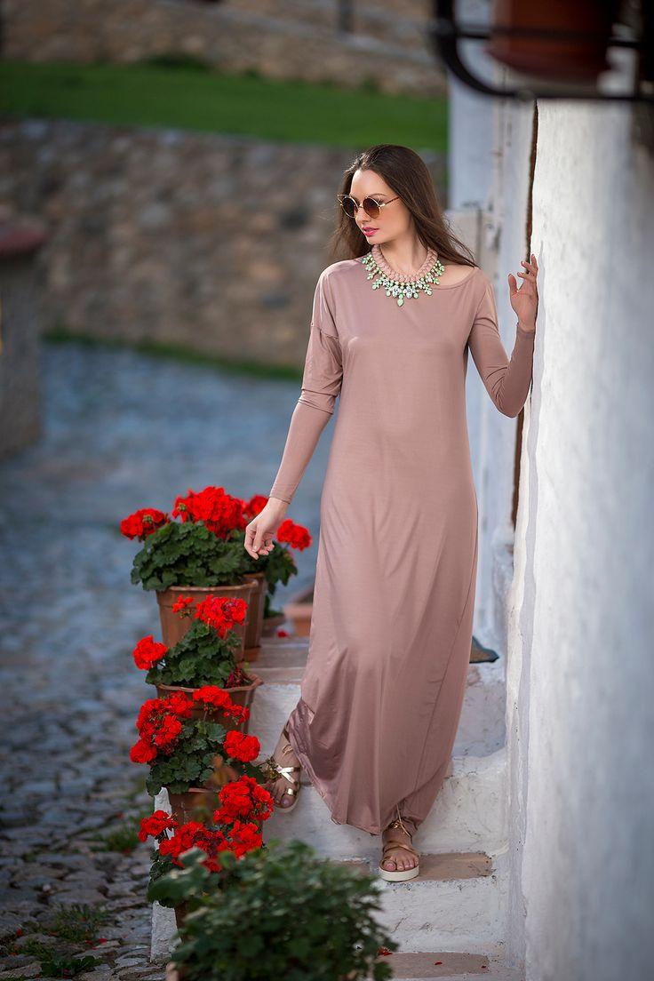 Φόρεμα maxi μπέζ-κόραλ, YourLook