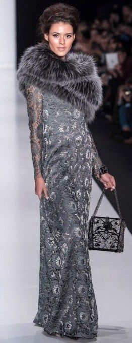 Russian-style fur-and-lace dress. Igor Gulyaev, a fashion designer from Moscow. F/W 2014-15.