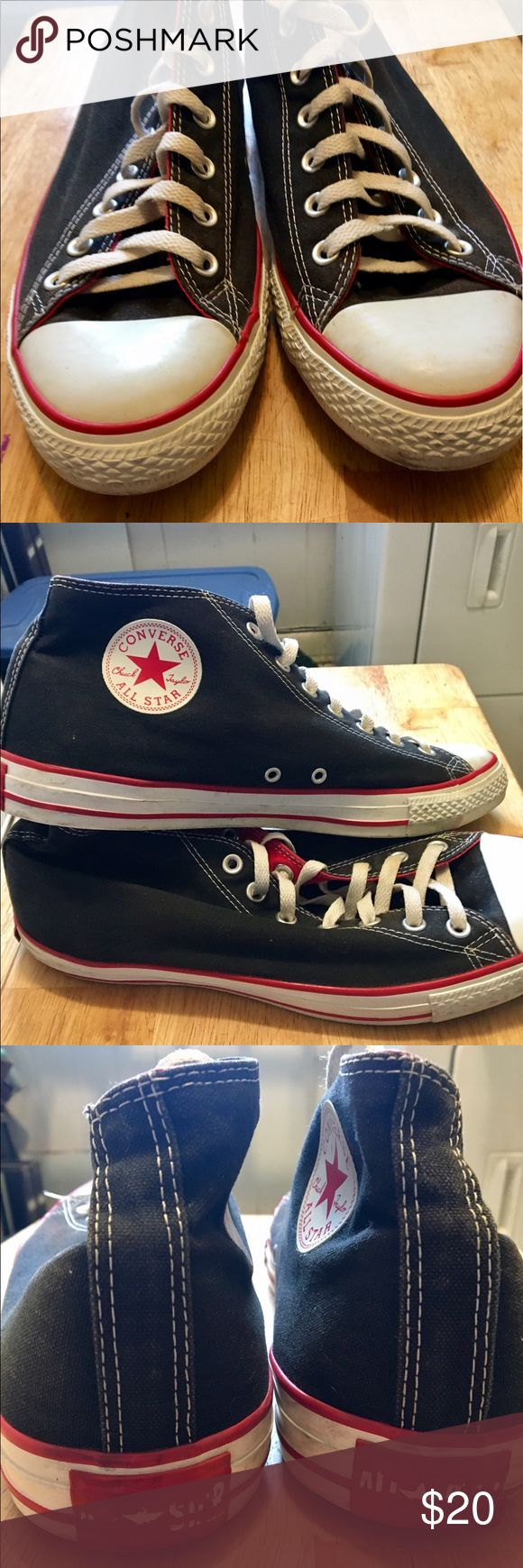 Converse Chuck Taylor Black/Red Mid-tops size 12 Converse Chuck Taylor Black/Red Mid-tops size 12 124101F Clean and good condition. See pictures for details Converse Shoes Sneakers