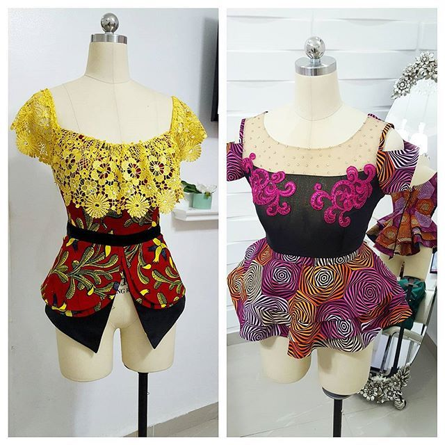 2 colorful and pretty kathyanthony blouses... #skirtandblouse #peplumblouse #kathyanthonydesigns #ankara #kathyanthony