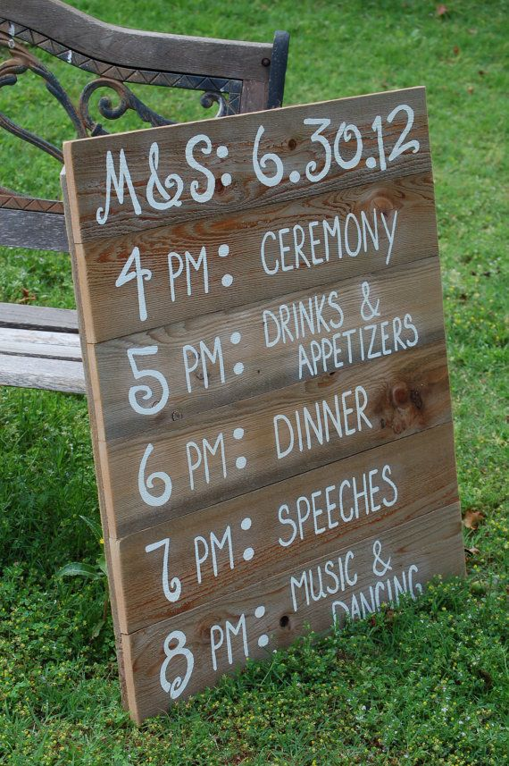 Recycled Wood Itinerary! Hand painted and customized just for your special event. Board measures approx: 30 x 36 and can prop up against