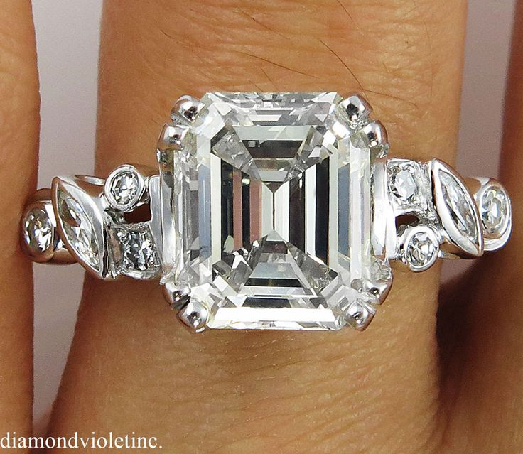 3.64CT ESTATE VINTAGE EMERALD DIAMOND ENGAGEMENT WEDDING RING PLAT #SolitairewithAccents