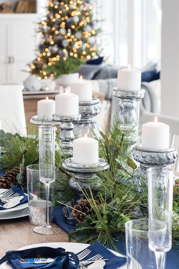 Silver And Navy Christmas Table Setting The Lilypad Cottage Silver Christmas Decorations Blue Christmas Decor Table Settings Everyday