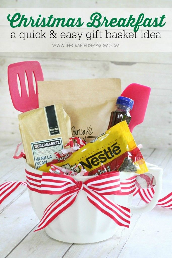 I love the idea of giving family and friends a gift basket for Christmas breakfast. This is so much better than the traditional holiday neighbor gift. It's also a great last minute idea!
