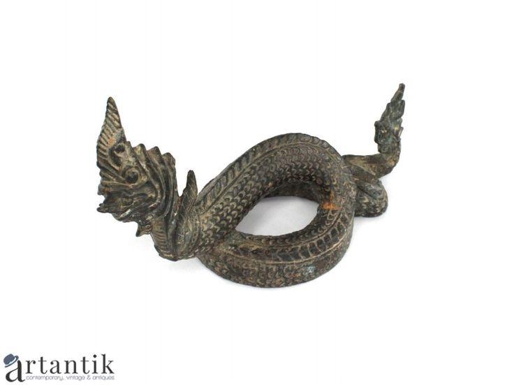 Statueta budista - Dragon burmez - Phaya Naga - manufactura in bronz