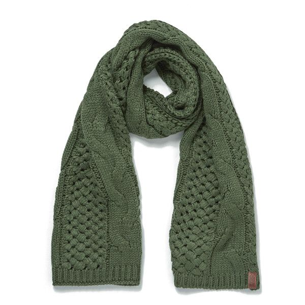 Superdry Women's North Cable Scarf - Olive (2.805 RUB) ❤ liked on Polyvore featuring accessories, scarves, superdry, cable knit shawl, thick knit scarves, cable knit scarves and chunky knit scarves