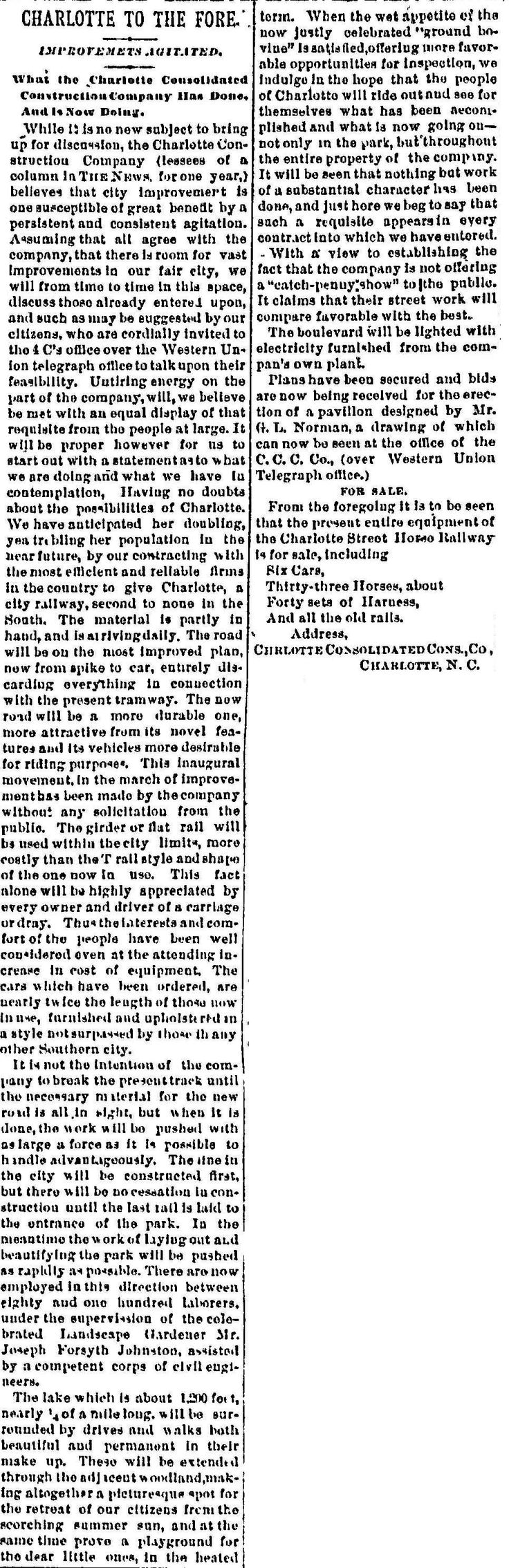 """Charlotte News, March 14, 1891 - """"Charlotte to the Fore,"""" Construction of the streetcar line to Latta Park and the new Dilworth development is underway; the 4C's are selling the old horse-drawn cars as well."""