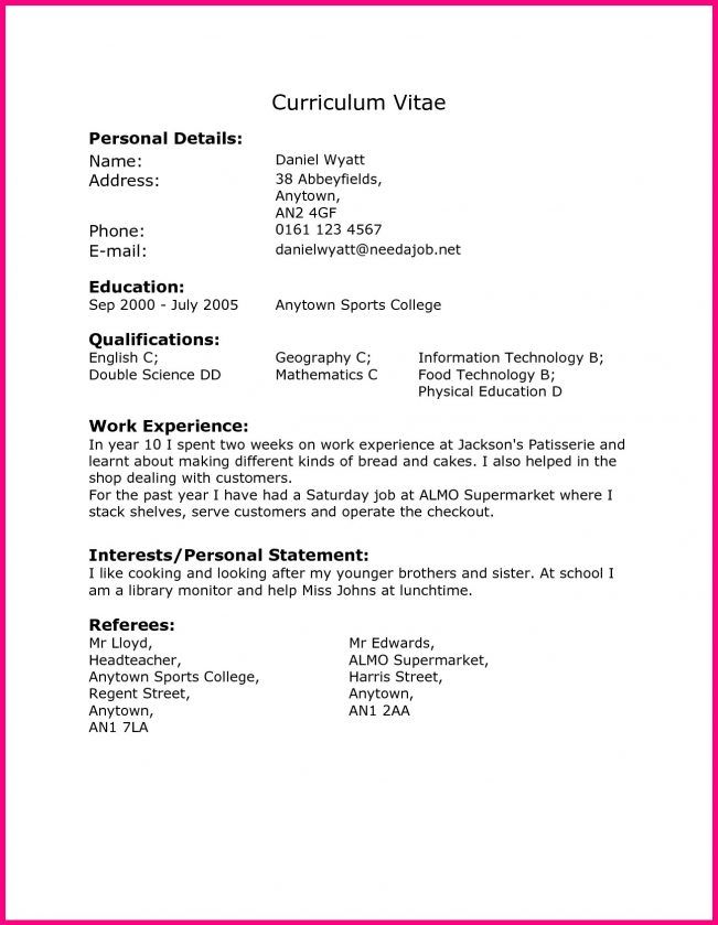 Cv Template Year 10 Resume Examples Address Label Template Cv Template Work Experience