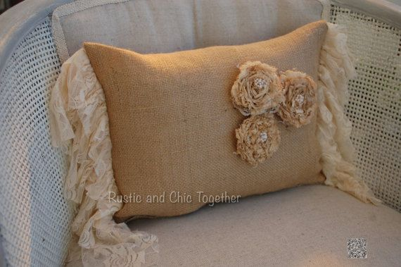 Burlap Pillow - Lace ruffles - Handmade Rosette  Rustic style for a cottage, modern and romantic bed  Listing is for one Pillow with insert included Pillow measures options:   9x12 plus ruffles 19   Please allow 2 weeks for shipping.   ******* Love never fails ******