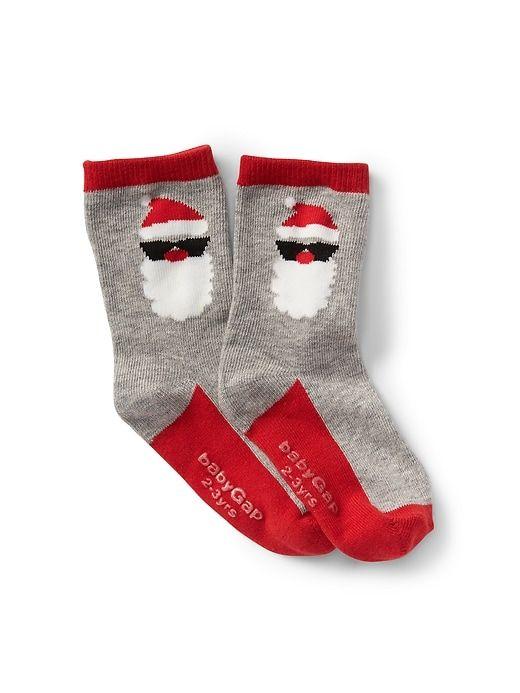Gap Baby Santa Socks Grey Santa Shades