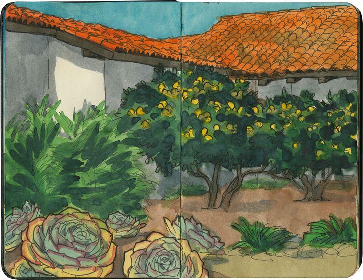 Mission Nuestra Senora de la Soledad sketch by Chandler O'Leary