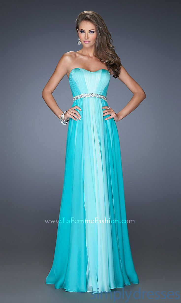 Dress, Long Strapless Ombre Formal Gown - Simply Dresses