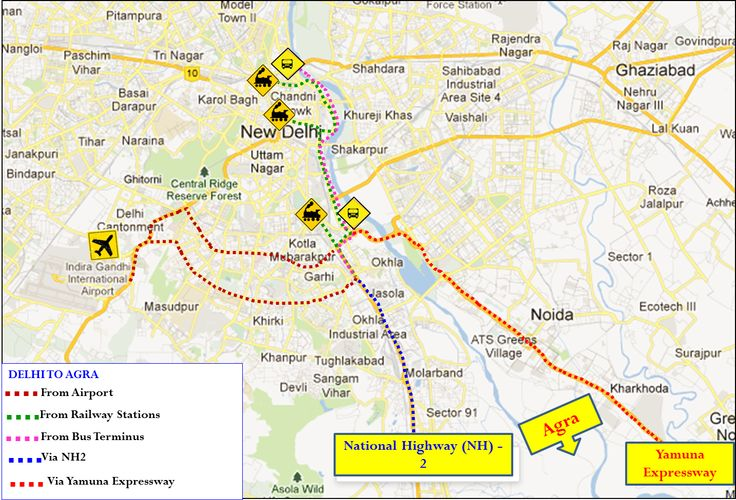 Delhi to Agra Travel Map #delhitoagraroutemap #delhitoagratravelmap #delhitoagratravelmaplarge http://www.toursoftajmahal.com/blog/delhi-agra-travel-map/