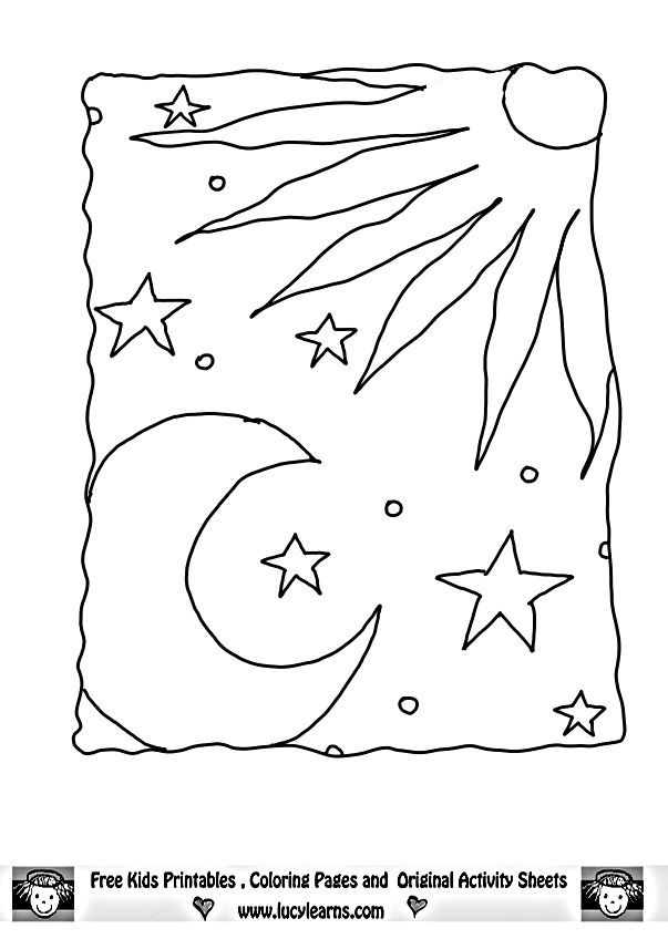 I m grateful for the sun moon stars thanksgiving for Sun moon and stars coloring page