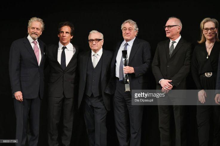 Michael Douglas, Ben Stiller, Martin Scorsese, Robert De Niro, Barry Levinson and Meryl Streep speak onstage during the 44th Chaplin Award Gala at David H. Koch Theater at Lincoln Center on May 8, 2017 in New York City.