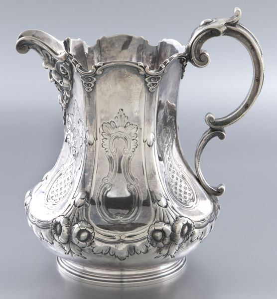 John C. Moore coin silver water pitcher : Lot 52