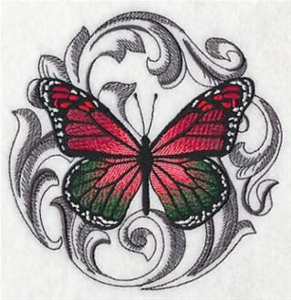 "This free embroidery design from Embroidery Library is the ""Baroque Christmas Butterfly""."