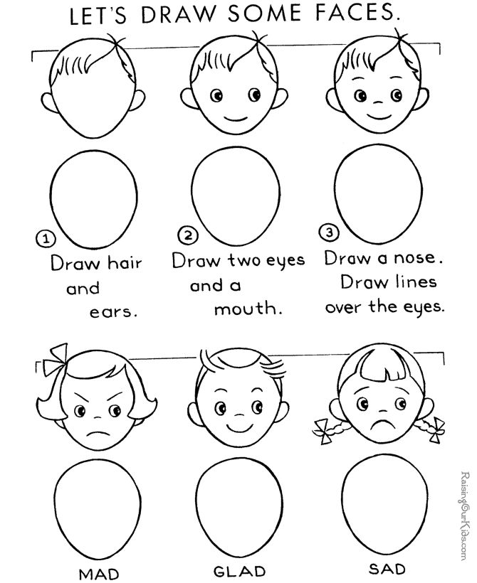 learn to draw faces emotions - Free Drawing For Kids
