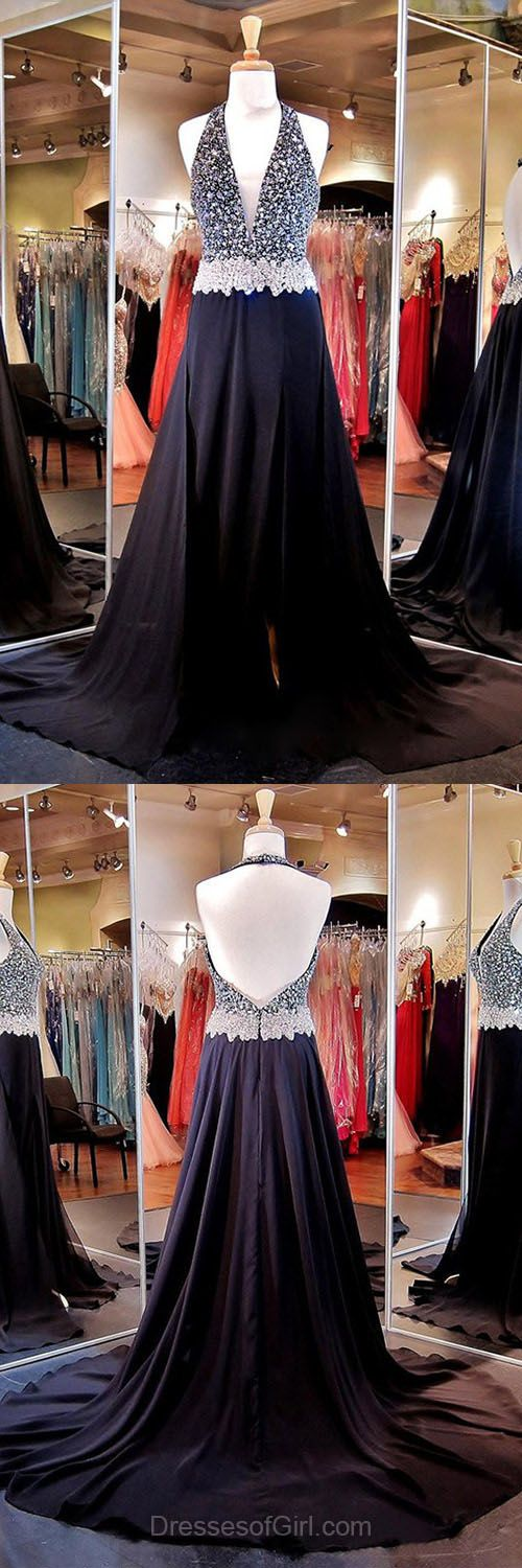 Black Formal Dresses, Halter Evening Dresses,  Chiffon Open Back Prom Dress, V-Neck Long Party Gowns