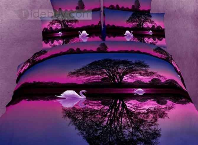 すてきなパープル4点白鳥の湖プリントコットン寝具セット