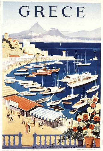 Vintage travel poster of Greece designed by G. Vakirtzis, 1955 Kastella #kitsakis