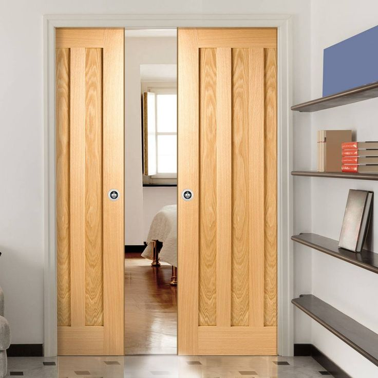 Double Pocket Idaho Oak 3 Panel Door. #pocketdoorpair #modernpocketdoors #oakpocketdoors
