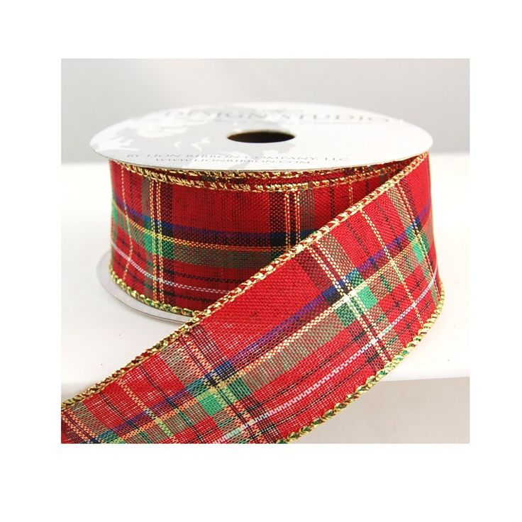Lion Ribbon Barrett Plaid with Gold Wire Edged Christmas Craft Ribbon 2 1/2' 10 Yards * To view further for this item, visit the image link.