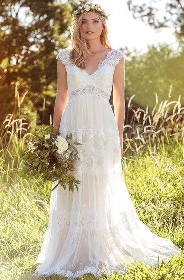 V-Neck Long Cap-Sleeve Appliqued Lace Tulle Wedding Dress ... 9364a26af80f