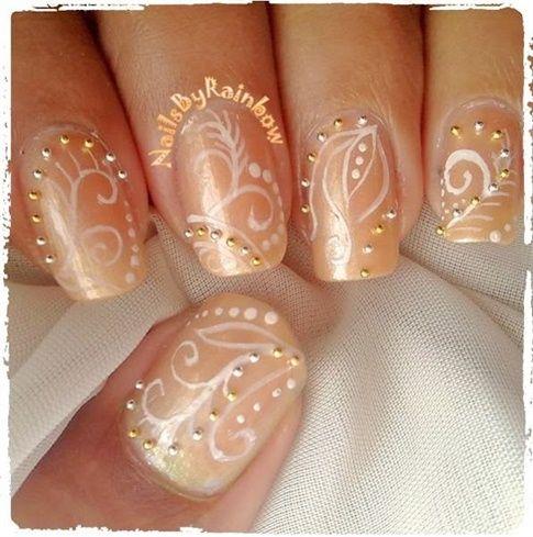 Bridal/prom Nails by nailsbyrainbow - Nail Art Gallery nailartgallery.nailsmag.com by Nails Magazine www.nailsmag.com #nailart