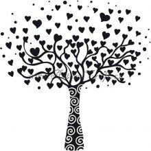 Dřevěné razítko, velikost G, srdíčkový strom