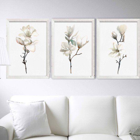 Beige Ecru Magnolia Watercolor Flowers Set of 3 Prints Minimalist Flower Spring Wall Decor Muted Neutral Colors Botanical Print Floral Decor