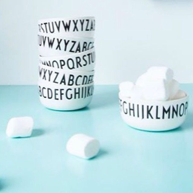Melamine bowls with typography by Arne Jacobsen.
