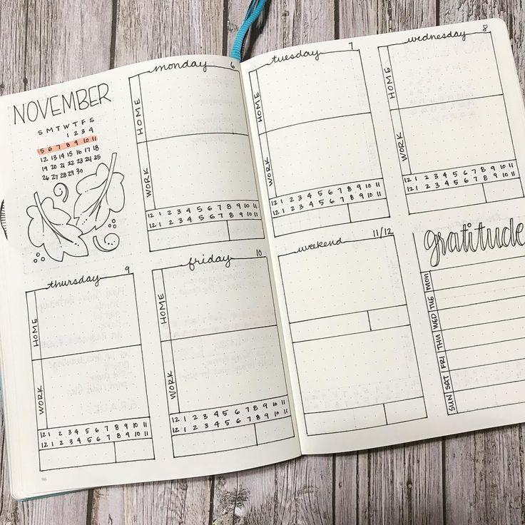 Bullet journal weekly layout, cursive date headers, weekly gratitude tracker, horizontal timeline,  leaf drawing, Autumn drawing.  @pen.paper.tape