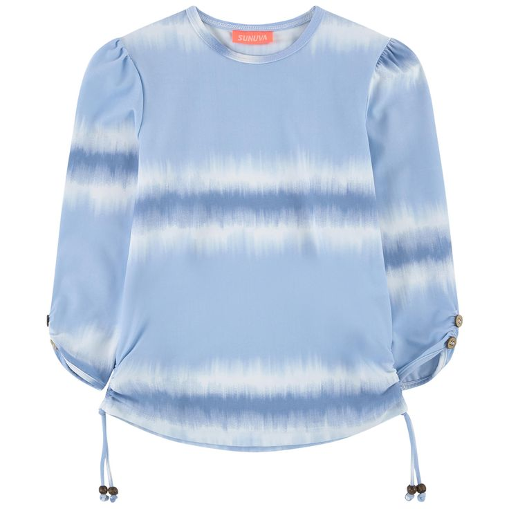 Stretch technical fabric Stretch item Fitted cut UV50 sun protection fabric Quick drying Crew neck Gathered armholes Long sleeves Gathered sides Drawstrings Fancy buttons Tie Dye effect - $ 53