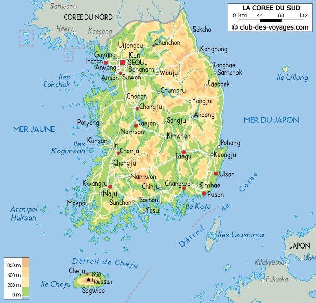Carte Corėe Du Sud Pays Continent Asie Coree Du Sud Coree Et Asie