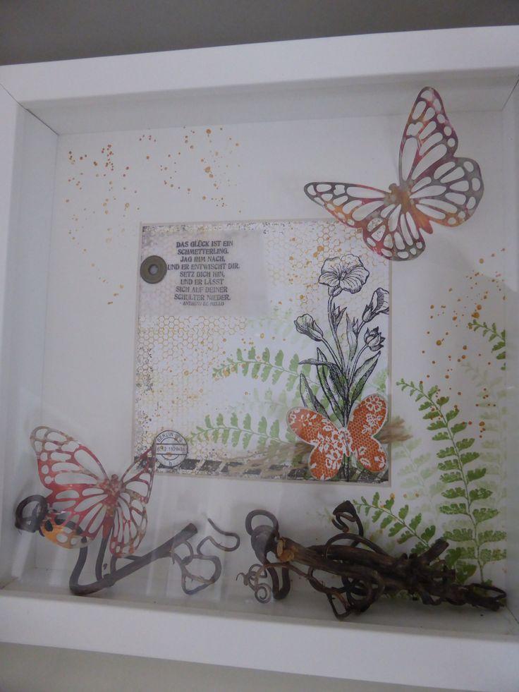 Ribavirin Rahmen gestaltet mit Stampin Up Stempelset Schmetterlingsgruß und Thinlits Formen Schmetterlinge